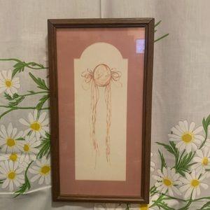 Vintage Gay Talbott rare pink cameo framed art